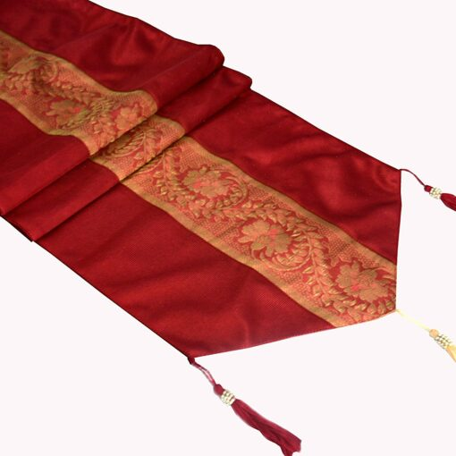 Avioni Premium Faux Silk Ethnic Mahroon Table Runner Festival Collection -57 x 12.5 Inches