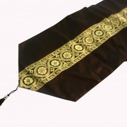 Avioni Premium Faux Silk Ethnic Brown Table Runner Festival Collection -57 x 12.5 Inches