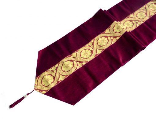 Avioni Premium Faux Silk Ethnic Purple (Wine) Table Runner Festival Collection -57 x 12.5 Inches