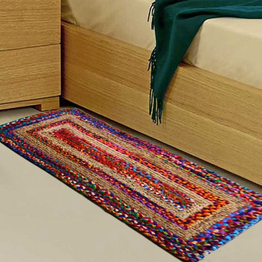 Braided Rug in Ecofriendly Recycled Cotton Chindi and Jute - Colorful Contemporary Design - Perfect for Hallway or Bedside - 22X55 Inches -  Avioni