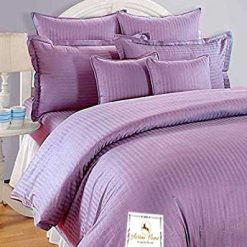 Double Bed Sheet 100% Cotton 200 TC Plain Satin Stripes in Purple in Avioni Packing