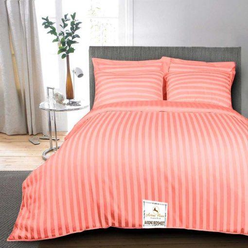Double Bed Sheet 100% Cotton 200 TC Plain Satin Stripes in Orange Colour in Avioni Packing