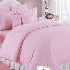 Double Bed Sheet 100% Cotton 200 TC Plain Satin Stripes in Light Pink in Avioni Packing