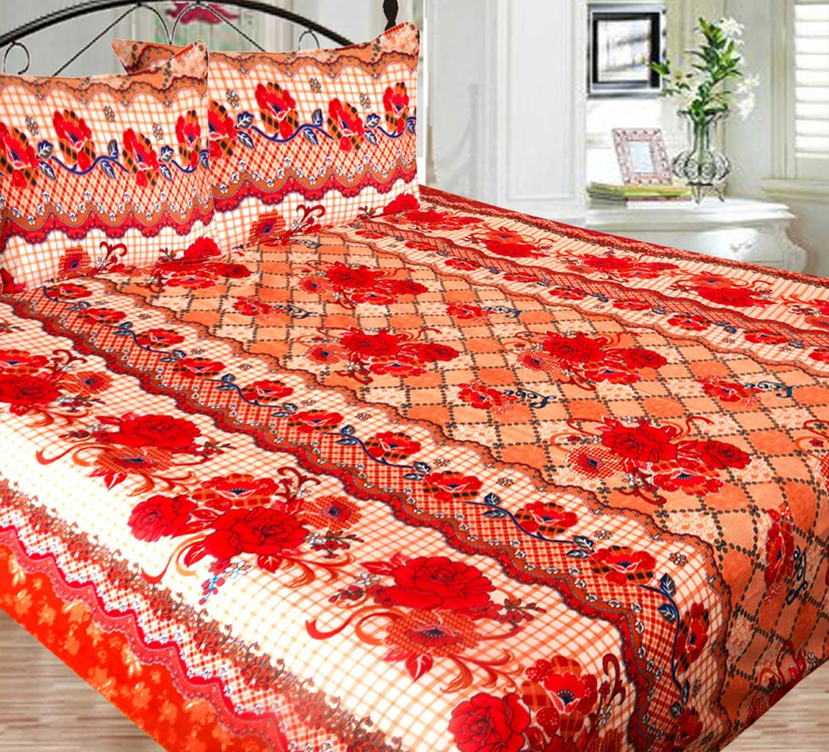 Picture of: Double Bed Sheet Poly Cotton Fast Colors Best Price Avioni Quality Guarantee In Beautiful Floral Design