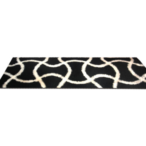Shaggy Carpet / bedside runner in black with maze (22x55 Inches) by Avioni