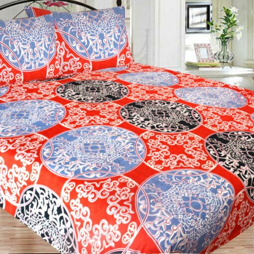Double Bed Sheet PolyCotton Fast Colors Best Price  Avioni Quality Guarantee In Red Multicolor