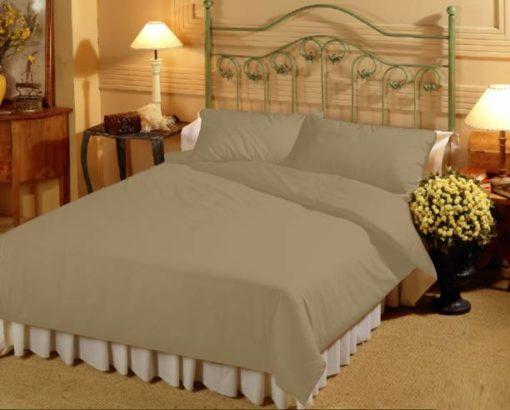 Double Bed Sheet 100% Cotton, 210 Tc Very Fine Cotton Plain In Khakhi Color By Avioni-Size – 215X 274 cms)