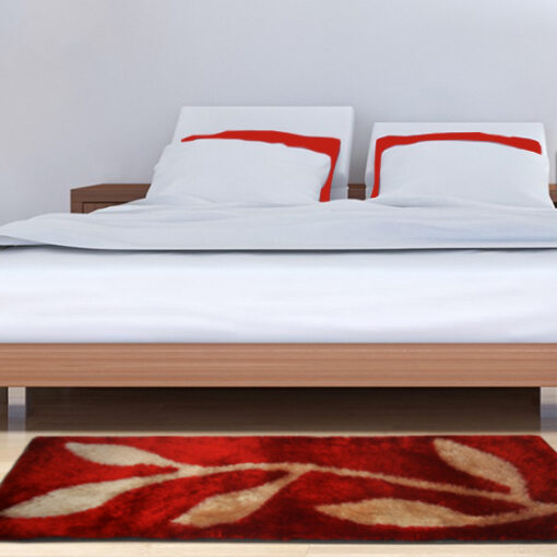 Shaggy Carpet / bedside runner in Red With Leaves (22x55 Inches) by Avioni
