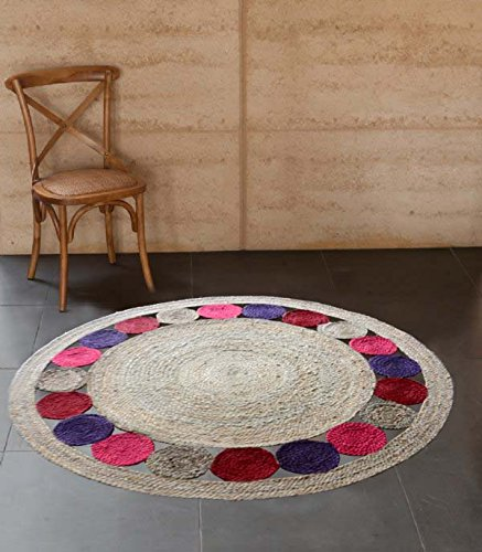 Jute Mat – Natural Rugs – Braided Area Rug – Multicolor Border – Handmade & Unbleached – 4 feet Round – Avioni Premium Eco Collection