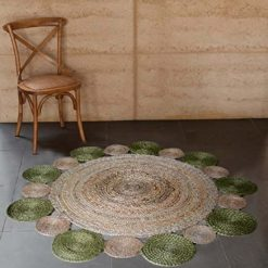 Jute Mat – Natural Rugs – Braided Area Rug – Green Border – Handmade & Unbleached – 4 feet Round – Avioni Premium Eco Collection