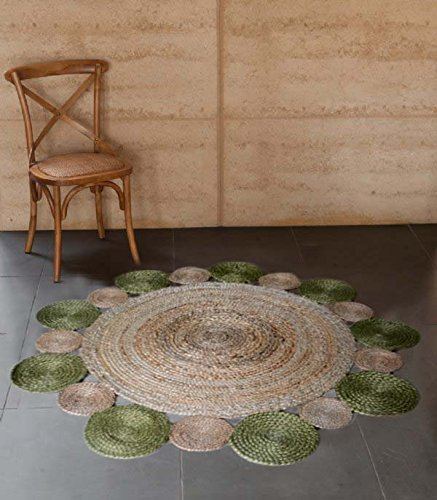 Jute Mat - Natural Rugs - Braided Area Rug - Green Border - Handmade & Unbleached - 4 feet Round - Avioni Premium Eco Collection