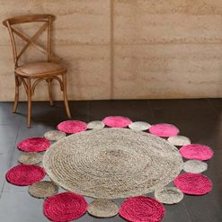 Jute Mat – Natural Rugs – Braided Area Rug – Pink With Border – Handmade & Unbleached – 4 feet Round – Avioni Premium Eco Collection
