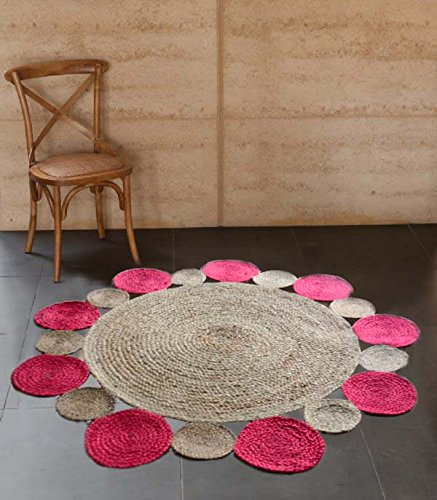 Jute Mat - Natural Rugs - Braided Area Rug - Pink With Border - Handmade & Unbleached - 4 feet Round - Avioni Premium Eco Collection