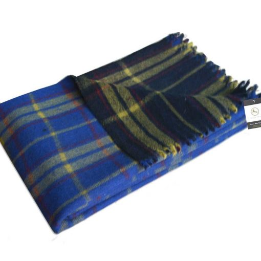 Wool Blankets Premium In Tartan Design Check in Assorted Colors By Msf