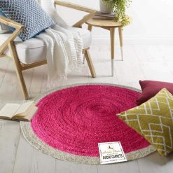 Jute Mat – Natural Rugs – Braided Jute – Pink And Beige- Handmade  – 4 feet Round – Avioni Premium Eco Collection