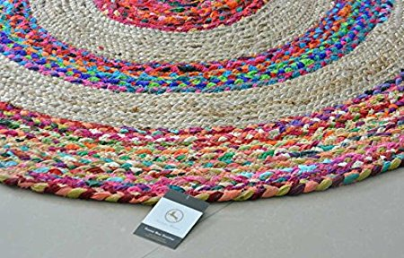 Braided Rug in Ecofriendly Recycled Cotton Chindi and Jute – Colorful Contemporary Design – 4 feet Round – Avioni Premium Eco Collection