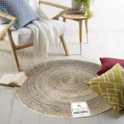 Jute Mat – Natural Rugs – Braided Area Rug – Beige Jute- Handmade & Unbleached – 4 feet Round – Avioni Premium Eco Collection