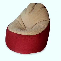 BIGMO Designer Bean Bags Comfy Stylish Chair XXL Without Beans 100% Cotton In Red And Beige Chenille