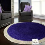 Jute Mat - Natural Rugs - Braided Jute - Blue With Border- Handmade & Unbleached - 4 feet Round - Avioni Premium Eco Collection