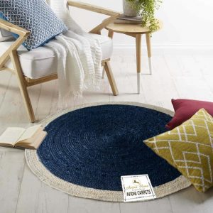 Jute Mat - Natural Rugs - Braided Area Rug - Blue With Border - Handmade & Unbleached - 4 feet Round - Avioni Premium Eco Collection