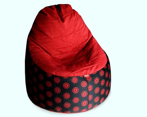 BIGMO Designer Bean Bags Comfy Stylish Chair XXL Without Beans 100% Cotton In Red Chenille