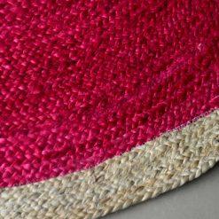 Jute Mat – Natural Rugs – Braided Jute – Pink And Beige- Handmade  – 4 feet Round – Avioni Premium Eco Collection
