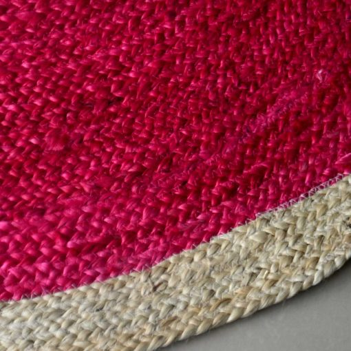 Jute Mat - Natural Rugs - Braided Jute - Pink And Beige- Handmade & Unbleached - 4 feet Round - Avioni Premium Eco Collection