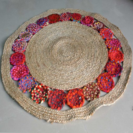 Braided Rug - Ecofriendly Recycled Cotton Chindi and Jute - Colorful Contemporary Design - 110 cm Diameter - Avioni Best Seller