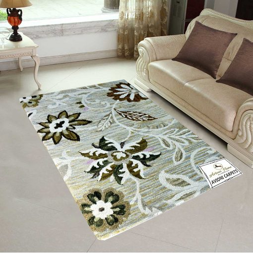 Contemporary Floral Area Rugs - Wool Loop Pile Carpet - 3 X 5 Feet - Avioni - Premium  Himalayan Collection - Factory Price