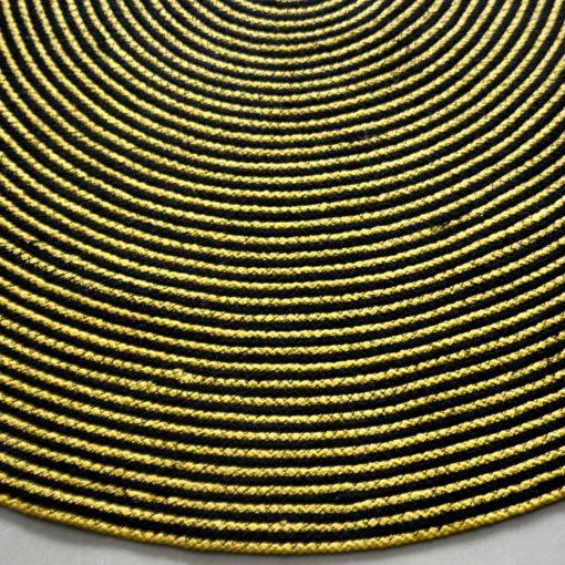 Jute Mat – Natural Rugs – Braided Jute – Beige Jute- Handmade In Yellow And Black – 4 feet Round – Avioni Premium Eco Collection