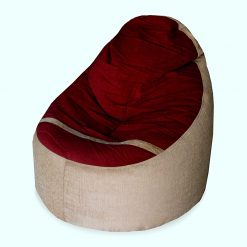 BIGMO Designer Bean Bags Comfy Stylish Chair XXXL Without Beans 100% Cotton In Beige And Red Chenille