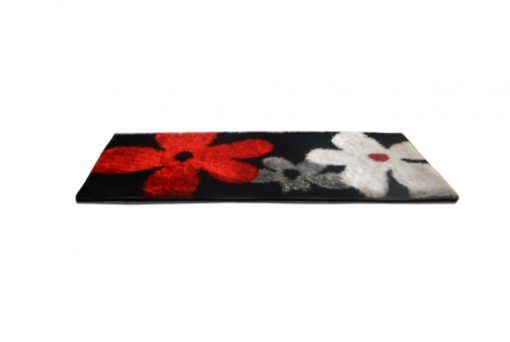 Shaggy Carpet/ bedside runner in black with Flowers (22x55 Inches) by Avioni