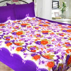 Double Bed Sheet Poly Cotton Fast Colors Best Price  Avioni Quality Guarantee In Blue Floral