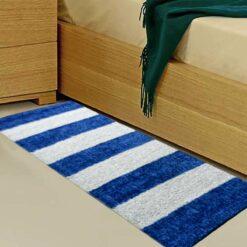 Avioni Handloom Blue & White Plain Solid Premium Bedside Carpet (22X55 Inch)