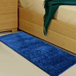 Handloom Blue Plain Solid Premium Bedside Carpet (22X55 Inch) By Avioni