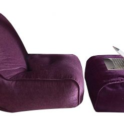 BIGMO Designer Bean Bags Comfy Stylish Chair XXXL With Matchig Foot Rest Without Beans In Chenille In Purple