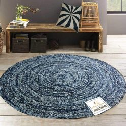 Denim Rug – Modern Braided Area Rugs in Ecofriendly Recycled Denim – Handmade  – Avioni Best Seller @ Great Discount