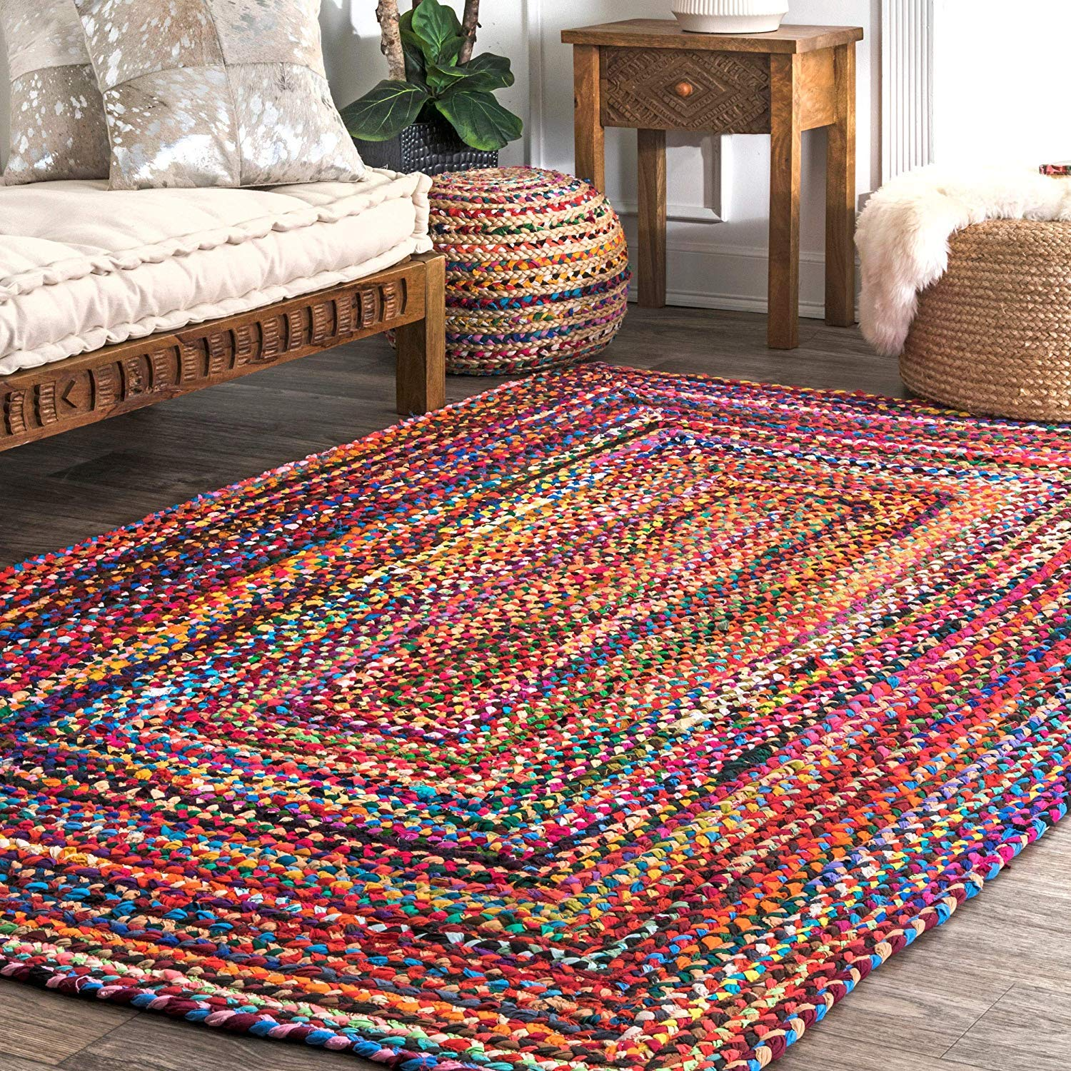 Rag Rugs Modern Braided Rug In Colorful Cotton Chindi