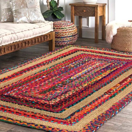 SAVE 5% MORE WITH OUR BRAIDED CHINDI & JUTE RUG (3 feet X 5 feet ) AND POUF COMBO- Ecofriendly Recycled Cotton Chindi and Jute used – Colorful Contemporary Design – Avioni Premium Eco Collection