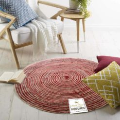 Jute Mat – Natural Rugs – Braided Area Rug – Red And Beige – Handmade & Unbleached – 4 feet Round – Avioni Premium Eco Collection