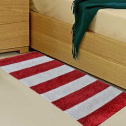 Avioni Handloom Red & White Plain Solid Premium Bedside Carpet (22X55 Inch)