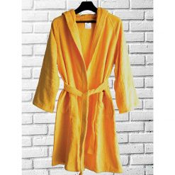 Loomkart Export Quality Bath Robes in Yellow – Avioni -Zip-Packing- Standard Size