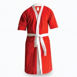 Loomkart Very Fine Export Quality Bath Robes in Red With White Very Soft Velvet Finish in Avioni Zip-Packing- Standard Size