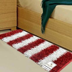 Buy Bed Side Runner /Shaggy Rugs(56 X 140 cm) Red And White By Avioni