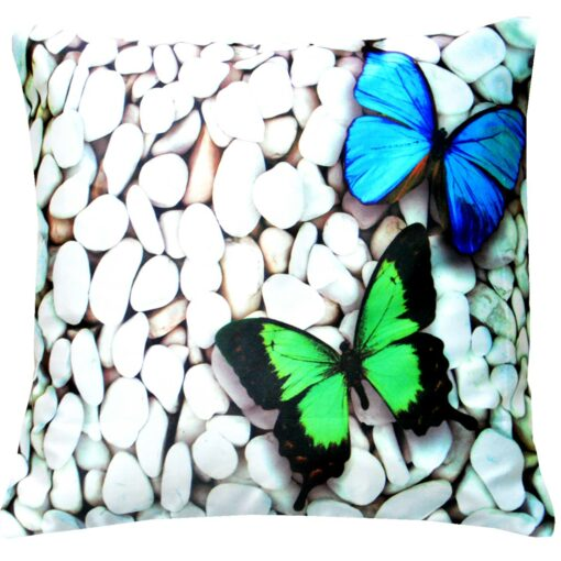 3D Cushion Covers Beautiful Butterfly on Pebbles- Best Price 16 X 16 Inch (set of 5) by Avioni