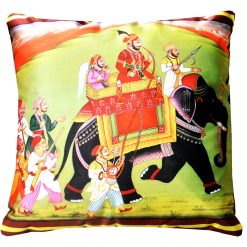 3D Cushion Covers Royal Elephant Ride- Best Price 16 X 16 Inch (set of 5) by Avioni