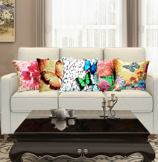 3D Cushion Covers Butterfly And Flowers – Best Price 16 X 16 Inch (set of 5) by Avioni
