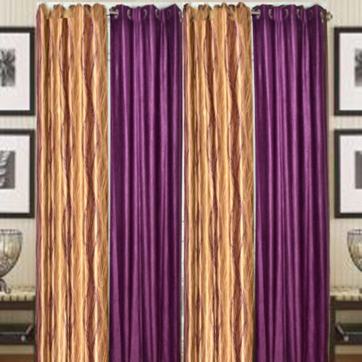 Curtains In Brown & Purple Heavy Crush Material (set of 4) by Avioni