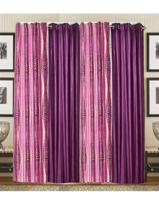 Purple And Pink Polyester And Crush Curtain Material (set of 4) by Avioni