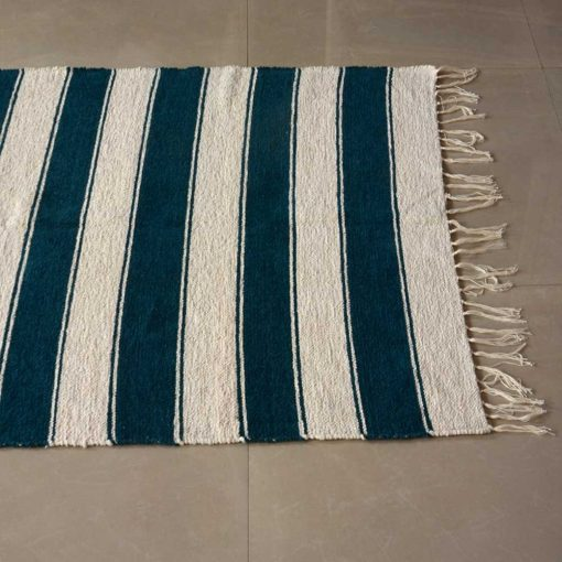 Luxe Soft Premium Chenille Durry in Blue Color - 3 X 5 Feet by Avioni